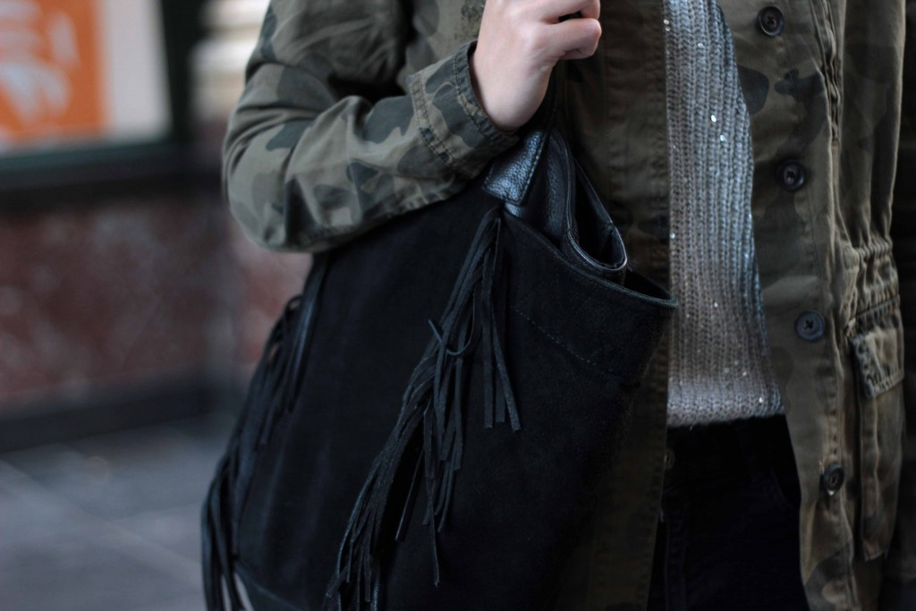 sac noir promod à franges